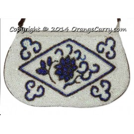 Peranakan Beaded Blue-White Leather Wristlet Pouch
