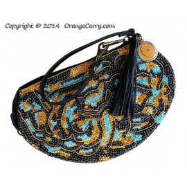 Brainy Beaded Black Leather Wristlet Pouch (Only available in SNSA's Charity Gala 2014 auction)