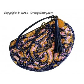 Brainy Beaded Blue Leather Wristlet Pouch (Only available in SNSA's Charity Gala 2014 auction)