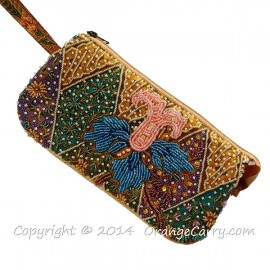 Beaded Batik Pouch, 5 Layer, with cloth strap