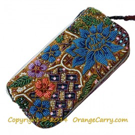 Beaded Batik Pouch - 5 Layer with detachable leather strap