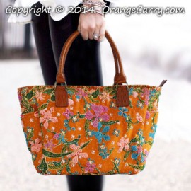 Orchid Batik Beaded Tote Bag - Limited, 1 pcs only